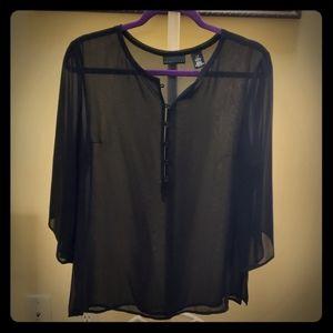 Apostrophe Black 3/4 Sleeve Sheer Blouse